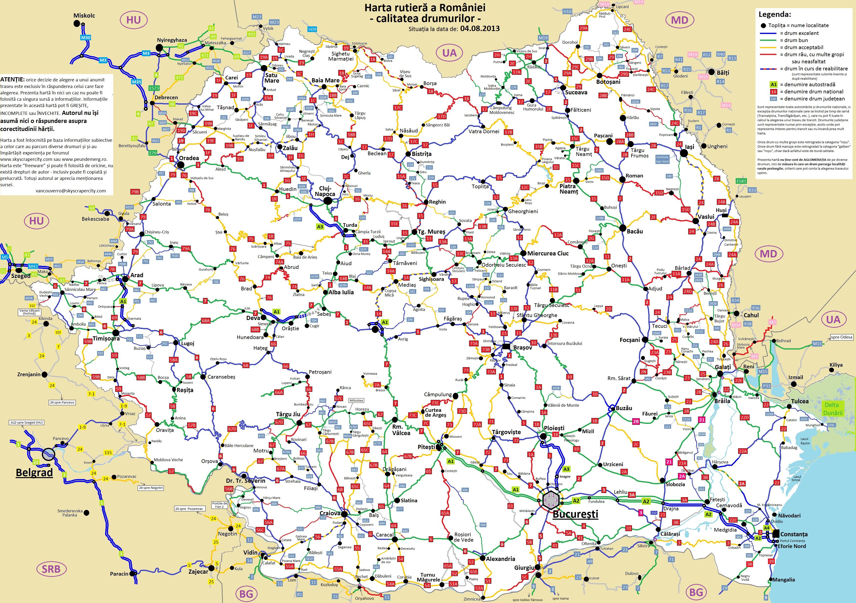 Harta Rutiera A Romaniei Calitatea Drumurilor Live Map